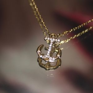 14kt Dipped Gold pave Anker Necklace